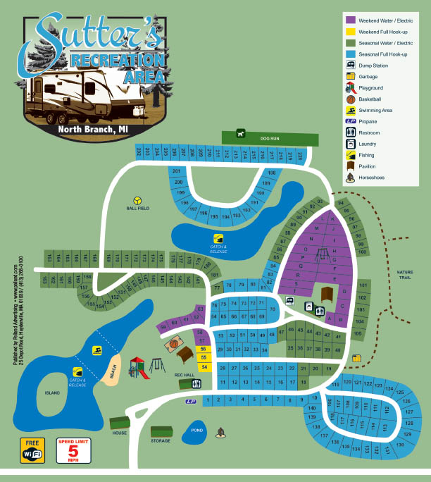 Sutter's Recreation Campground Sitemap